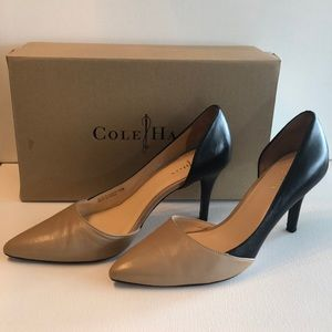 "Cole Haan leather tan & black 3"" heels"